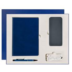 Набор Portobello Winner City: ежедневник недатированный А5, внешний аккумулятор 10000 mAh, ручка, синий фото