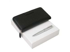 Подарочный набор Ramage: дорожный кошелек, ручка шариковая, чёрный/серебряный фото