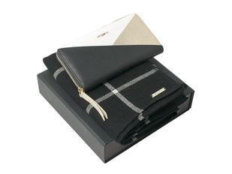 Подарочный набор: шарф шерстяной, кошелек дамский, черный/ бежевый фото