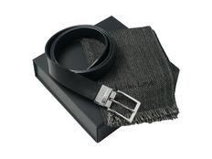Подарочный набор: шарф шерстяной, ремень, чёрный фото