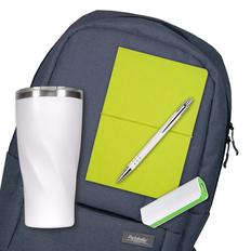 Набор подарочный Super-set-Portobello: рюкзак, термокружка, внешний аккумулятор, ежедневник А5, ручка, темно-синий / белый / зеленый фото