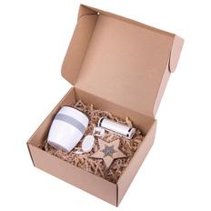 Подарочный набор Sure: термокружка Line, наушники Rasum, зарядное устройство Flash 2600 mAh, украшение елочное Shine Bright, белый / серебристый фото