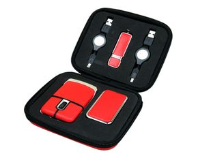 Набор подарочный USB-Set: USB-мышь, USB-хаб, флешка USB 2.0 на 16 Гб, красный / черный фото