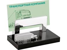 Подставка под визитки с фурой, черный, серый фото