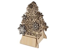 Подсвечник деревянный с электрической свечой Ель, натуральное дерево фото