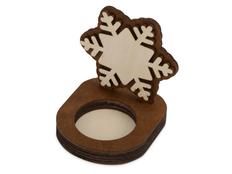 Подсвечник деревянный Снежинка, коричневый фото