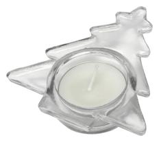 Подсвечник стеклянный со свечой, прозрачный фото