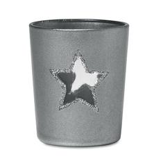 Подсвечник со звездой и свечой, серый фото