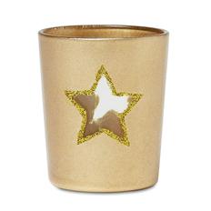 Подсвечник со звездой и свечей, золотой фото