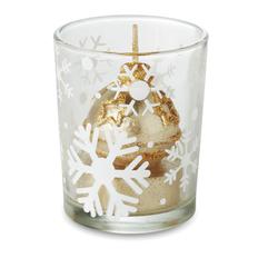 Подсвечник со свечой в форме новогоднего шара, прозрачный / золото фото