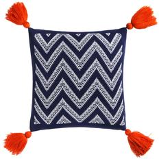 Подушка Levin, сине-белая с оранжевыми кистями фото