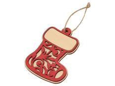 Подвеска деревянная «Новогодний валенок», красная фото