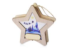 Подвеска новогодняя с подсветкой «Звезда», бежевая / синяя фото