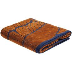 Полотенце In Leaf, большое, синее с горчичным фото