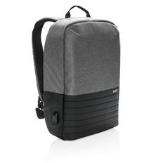Рюкзак для ноутбука Swiss Peak с RFID и защитой от карманников, черный/серый меланж фото