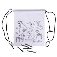 Рюкзак детский для раскрашивания Wizzy с восковыми мелками (5шт), белый / черный фото