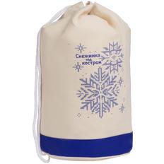 Рюкзак холщовый «Снежинка», бежевый / синий фото