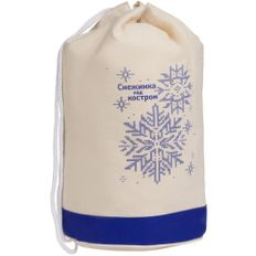 Рюкзак холщовый «Снежинка над костром», бежевый / синий фото