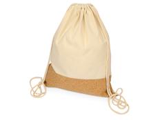 Рюкзак-мешок хлопковый Corky со вставкой из пробки, бежевый фото