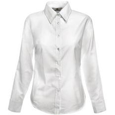 Рубашка женская Fruit of the Loom Lady-Fit Long Sleeve Oxford Shirt, белая фото