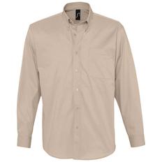Рубашка с длинным рукавом мужская Sol's Bel Air, бежевая фото