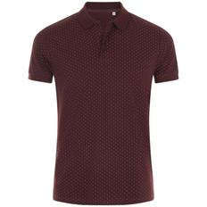 Рубашка поло мужская Sol's Brandy Men, бордовая / белая фото