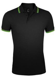 Рубашка поло мужская Sol's Pasadena Men 200, черная / зеленая фото