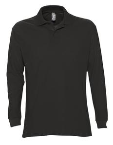 Рубашка поло с длинным рукавом мужская Sol's Star 170, черная фото