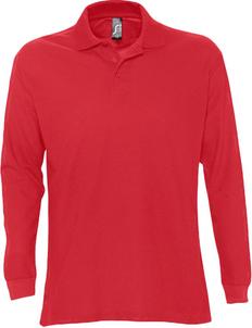 Рубашка поло с длинным рукавом мужская Sol's Star 170, красная фото