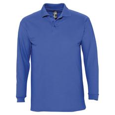 Рубашка поло с длинным рукавом мужская Sol's Winter II 210, ярко-синяя фото