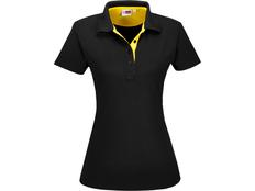 Футболка поло женская US Basic Solo, черная / желтая фото