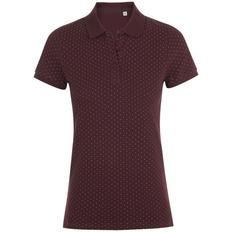 Рубашка поло женская Sol's Brandy Women, бордовая / белая фото