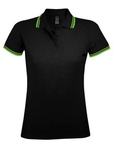 Рубашка поло женская Sol's Pasadena Women 200, черная / зеленая фото
