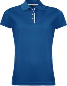 Рубашка поло женская Sol's Performer Women 180, ярко-синяя фото