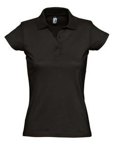 Рубашка поло женская Sol's Prescott Women 170, черная фото