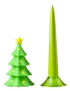 Ручка шариковая пластиковая Елка, зеленая фото