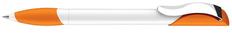 Ручка шариковая Senator Hattrix Polished Basic Soft, белая / оранжевая фото
