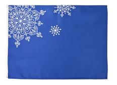 Салфетка декоративная Снежинки, синяя фото