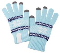 Перчатки сенсорные Snowflake, голубые фото