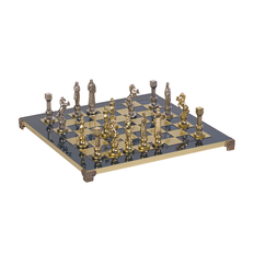 Шахматы Возрождение, синие/ золотые фото