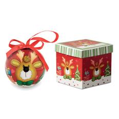 Шар новогодний Олень в подарочной коробке, многоцветный фото