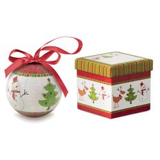 Шар новогодний в коробке Снеговик и Елка, многоцветный фото