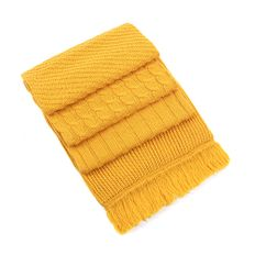 Шарф фактурный вязаный, желтый фото