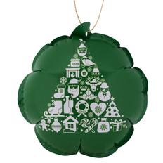 Шарик новогодний самонадувающийся, зеленый/ белый фото