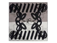 Платок шелковый Jean-Louis Scherrer Reflection, серо-чёрный фото