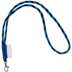 Шнурок для бейджа Tube Long, черный / синий фото