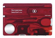Швейцарская карта Victorinox SwissCard, красная полупрозрачная фото
