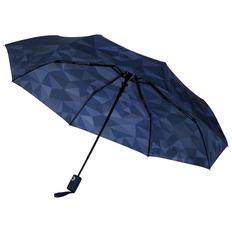 Зонт складной с рисунком полуавтомат Gems, синий / темно-синий фото