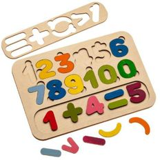 Сортер-раскраска Wood Machine «Цифры», бежевый фото