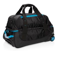 Сумка дорожная на колесах XD Collection Medium Adventure, черная/ голубая фото